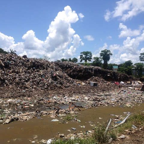A 'Before and after' photograph of the dumpsite