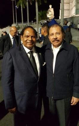 Prime Minister Moses Nagamootoo with the President Nicaragua of Daniel Ortega