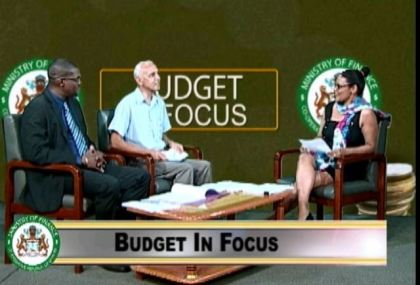 "Minister of Public Infrastructure David Patterson and Minister of Communities Ronald Bulkan on the ""Budget In Focus"" programme  on the National Communications Network (NCN,) with moderator Wanita Huburn"