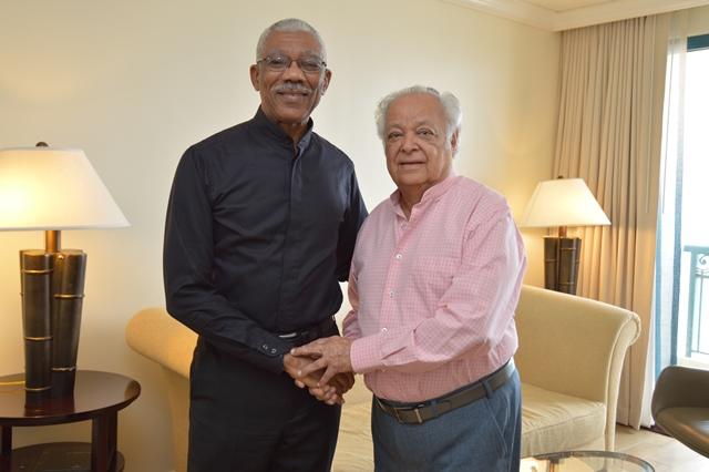 President David Granger and Sir Shridath Ramphal just before their meeting at the Hilton Barbados
