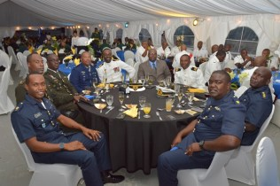 Some members of the Guyana Defence Force along with their Barbadian counterparts at the Toast to the Nation event