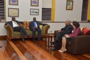 President David Granger and First Lady, Mrs. Sandra Granger meeting with Prime Minister Freundel Stuart