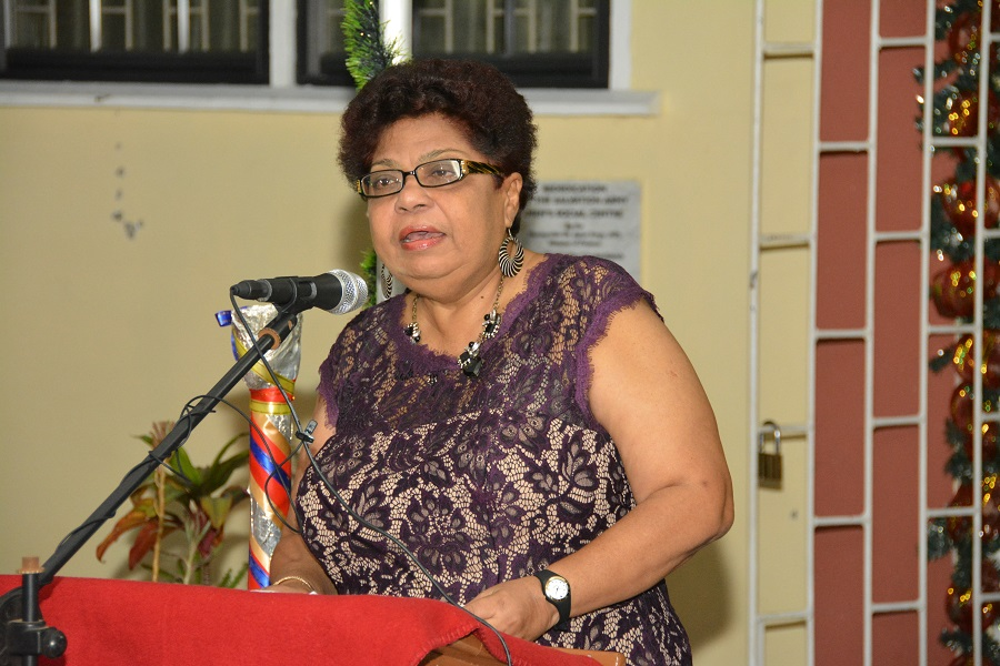 Minister of Social Cohesion, Ms. Amna Ally delivering an address to the audience at the Salvation Army's Past and Current Clients' Reunion dinner