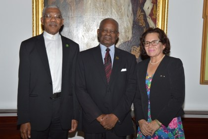 President David Granger, Governor-General of Barbados, Sir Elliott Belgrave and First Lady, Mrs. Sandra Granger, today, at Government House, Barbados