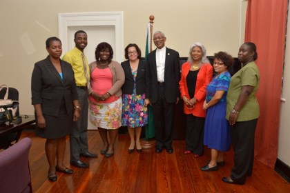 President David Granger and First Lady Mrs. Sandra Granger pose for a photograph with the Consul General, Ms. Cita Pilgrim and staff of Guyana's diplomatic mission in Barbados