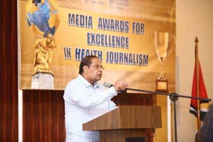 Prime Minister Moses Nagamootoo addressing journalists at PAHO/WHO Media Awards