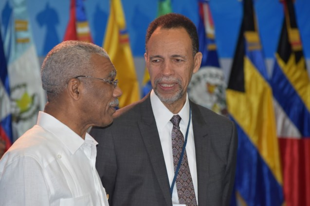 President David Granger and Ambassador Colin Granderson, Assistant Secretary General of the Caribbean Community (CARICOM) at the Fifth Summit of Heads of State and Government of the Community of Latin American and Caribbean States (CELAC).