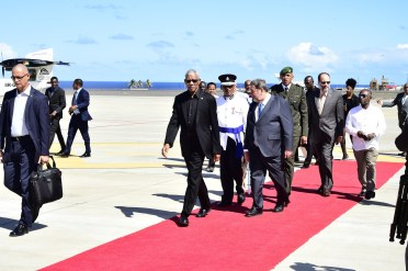 President David Granger receives a red carpet welcome at the Argyle International Airport