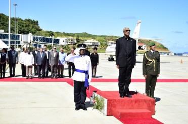 President David Granger receiving the Presidential salute
