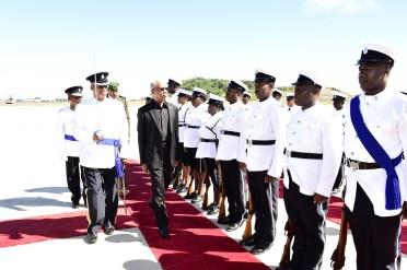 President David Granger inspecting the Guard of Honour