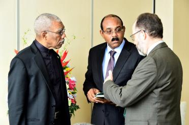 President David Granger in discussion with the Prime Minister of Antigua and Barbuda, Mr. Gaston Browne and Secretary General of CARICOM, Ambassador Irwin LaRocque.