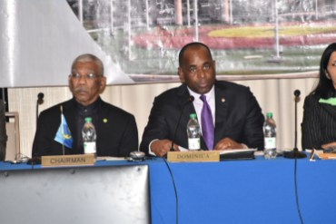 President of Guyana and Chairman of CARICOM, David Granger and Prime Minister of Dominica and outgoing Chairman of CARICOM Roosevelt Skerrit at the opening of the Twenty-Eighth Inter-Sessional Meeting of the Conference of Heads of Government at the Marriott Hotel in Georgetown