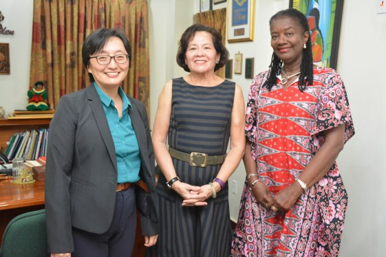 First Lady, Mrs. Sandra Granger is flanked by, from left, UN Resident Coordinator and UNDP Resident Representative, Ms. MikikoTanaka and UNFPA Resident Representative, Ms. Patrice LaFleur, today, at State House