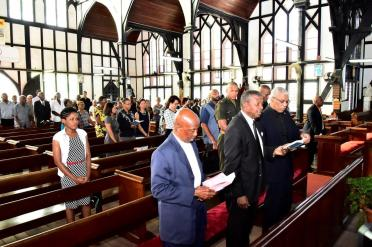 From left: Former Mayor of Georgetown, Mr. Hamilton Green, Speaker of the National Assembly, Dr. Barton Scotland and President David Granger during the memorial service for the late Mr. Noel Gordon Sinclair