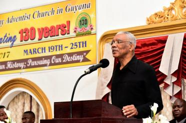 President David Granger delivering remarks at the rededication service at the Central Seventh-day Adventist Church