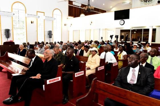 President David Granger and President of the Guyana Conference of SDA, Pastor Richard James seated in the audience at the re-dedication service