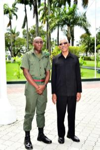 President David Granger and Second Lieutenant Austin Buntin from the Antigua and Barbuda Defence Force at State House