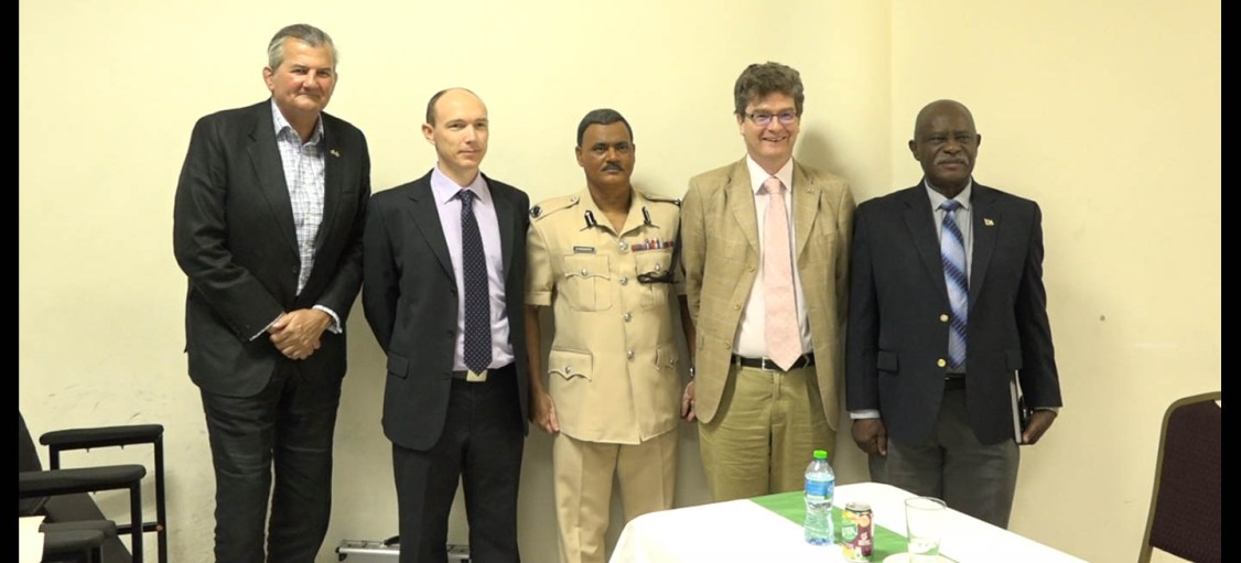 From left: British Senior Security Sector Reform Advisor, Mr. Russell Combe, Facilitator of the Risk and Liaison Overseas Network (RALON) Border Awareness Training Programme, Mr. Coran Oakley, Acting Commissioner of Police, Mr. David Ramnarine, British High Commissioner, Mr. Greg Quinn and Minister of Citizenship, Mr. Winston Felix