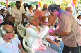 President Granger and Member of Parliament Mr. Anil Nandalall during the Phagwah Celebrations