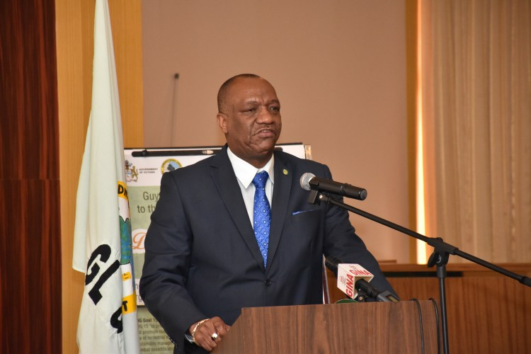 Minister of State, Mr. Joseph Harmon addressing the participants of the workshop