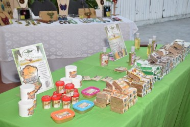 A display of locally made herbal soaps