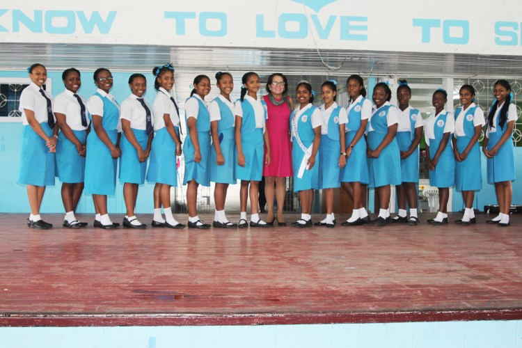 First Lady, Mrs. Sandra Granger poses with the contestants of Miss St. Joseph High School pageant