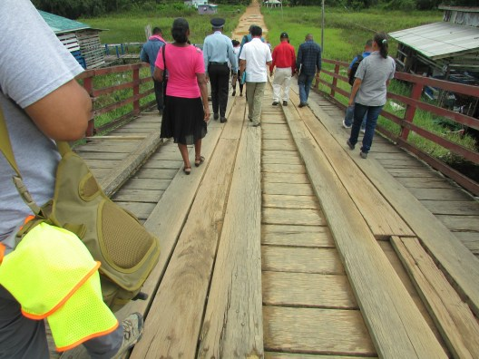 Residents accompanied Minister of Public Infrastructure, David Patterson, and Minister of Indigenous Peoples' Affairs, Sydney Allicock to a site visit of the bridge in Moruca, Region 1