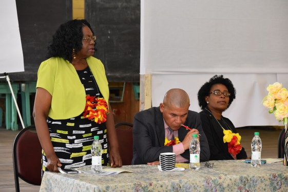 Ms. Genevieve Allen, Chairperson, Regional Democratic Council, Demerara-Mahaica said that she was pleased that the Ministry has engaged with educators. Minister of Social Cohesion, Dr. George Norton and Ms. Sharon Patterson, Programme Coordinator at the Ministry of Social Cohesion are also pictured at the head table.