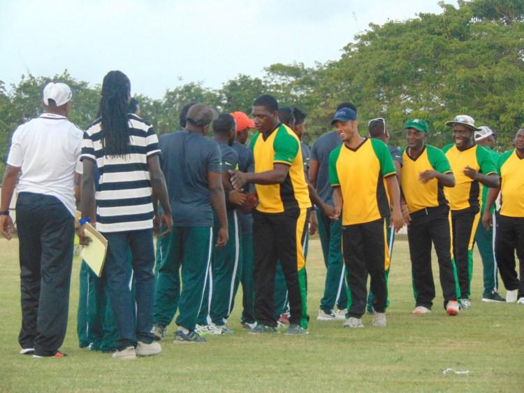 Jamaica and Guyana shaking hands after Jamaica won