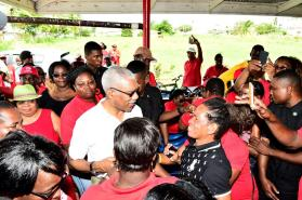 President David Granger surrounded by members of the Local Government Officers Union