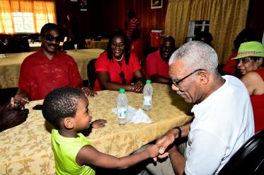 At the GTUC's head office, President David Granger met with this little guy who plans to become the President of Guyana when he gets older