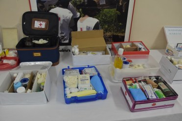 Some of the First Aid boxes prepared by the graduates of the First Aid, Cardiopulmonary Resuscitation (CPR) and the use of the Automated External Defibrillator (AED) training workshop