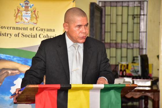 Minister of Social Cohesion, Dr. George Norton delivering his remarks