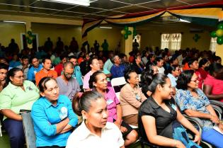 A section of the audience at the meeting, which was held yesterday in Lethem, Upper Takutu-Upper Essequibo (Region Nine) by President David Granger, Minister of Indigenous Peoples' Affairs, Mr. Sydney Allicock and Minister within the Ministry of Communities, Ms. Dawn Hastings-Williams as well as other regional officials and staff