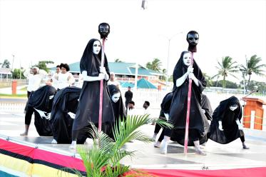 Dancers of the Free Souls Dance Theatre paying tribute to the Demerara Martyrs through a musical requiem, yesterday, at the commemorative ceremony