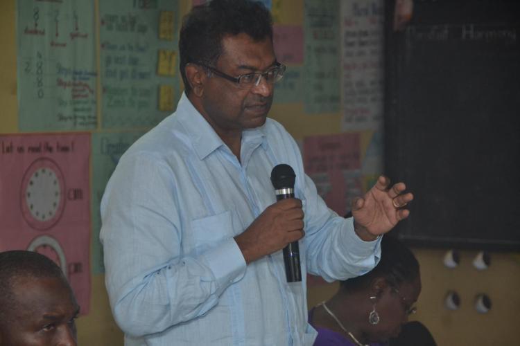 Minister of Public Security, Khemraj Ramjattan addressing the residents of La Parafait Harmonie