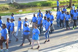 Participants of the walk as they took to the streets of Georgetown