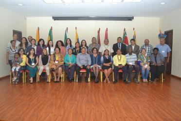 Ministry of Indigenous Peoples' Affairs, Sydney Allicock and Minister within the Ministry of Indigenous Peoples Affairs, Valerie Garrido-Lowe along with the participants of the ACTO meeting