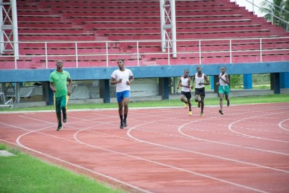 Some of the student athletes  practicing on the synthetic track at the Leonora Track and Field Centre.