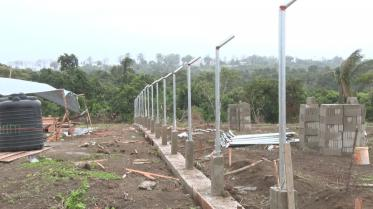Ongoing works on the fence in preparation for the Mabaruma solar farm