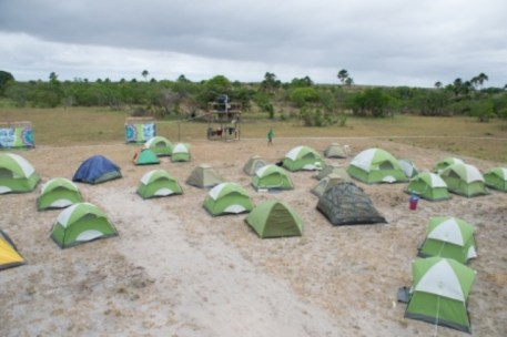 Some of the camping tents at the Rupununi Music and Arts Festival, Manari Ranch Lethem
