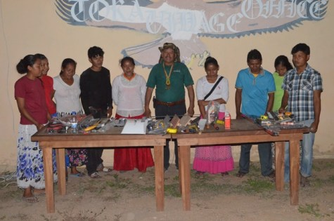 The youths of Toka Village receiving their equipment from Minister of Indigenous Peoples' Affairs, Sydney Allicock