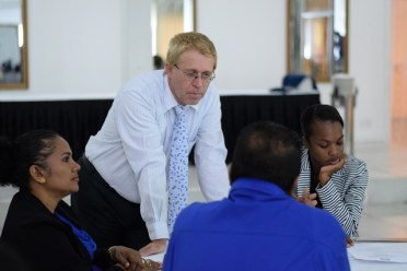ILO Social Dialogue and Labour Administration Specialist, Rainer Pritzer interacts with government representatives