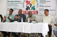 Head table (from left) Ganesh Jaigobin, Min. Joseph Harmon, Minister Keith Scott and Region Two Regional Chairman Devanand Ramdatt