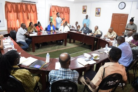 The meeting in progress at the Linden Town Council office