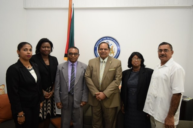 Prime Minister Moses Nagamootoo (centre), OPM Legal Advisor / Coordinator of Governance Office, Mrs. Tamara Khan (2nd from left) and members of the Integrity Commission