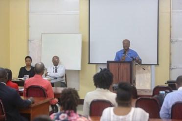 Deputy Director, SARA, Aubrey Heath-Retemyer addressing an Anti-Corruption Seminar