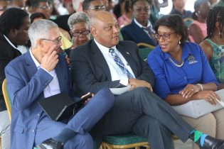 Minister of Business Dominic Gaskin, Minister of Natural Resources Raphael Trotman, and Minister of Public Telecommunications Catherine Hughes at the opening ceremony
