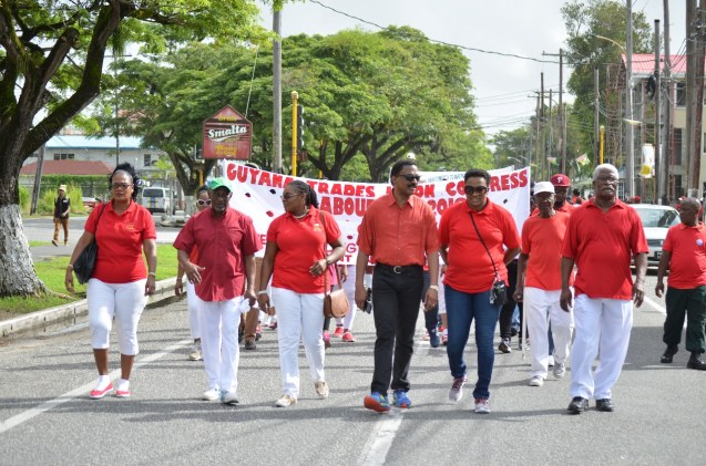 (Left to right) Karen Vansluytman-Corbin, Minister within in the Ministry of Social Protection, Keith Scott, President of GTUC, Coretta Mc Donald, Minister of Legal Affairs and Attorney General, Basil Williams SC and Minister within the Ministry of Infrastructure Annette Ferguson