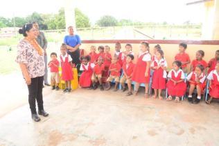 Mrs. Sita Nagamootoo interacting with students of the Arapaima Nursery School.